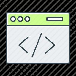 code, coding, development, html, page, program, web icon
