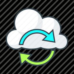 arrow, cloud, configuration, direction, sync icon