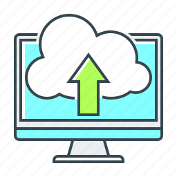 arrow, cloud, direction, monitor, up, upload icon