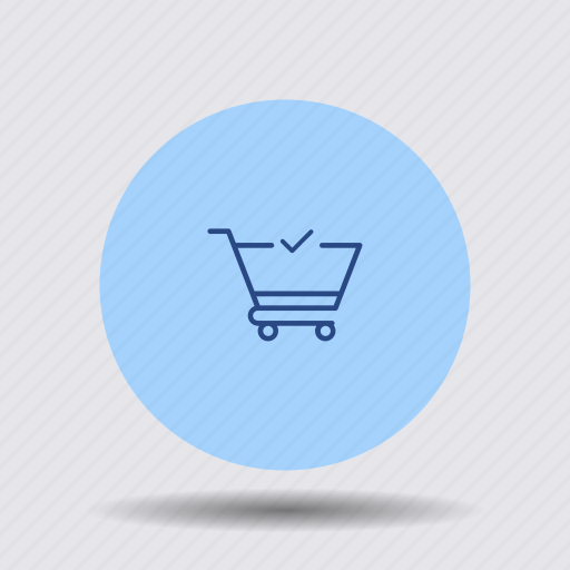 cart, checkmark, confirm, order, shopping, trolley, verified icon
