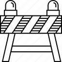 barrier, construction, resctricted, road, traffic