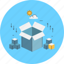 box, boxes, mail, parcel, space, storage icon