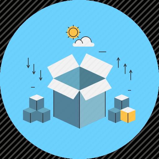 box, boxes, mail, parcel, space, storage icon