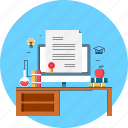 certificate, education, experiment, online, researh, study icon