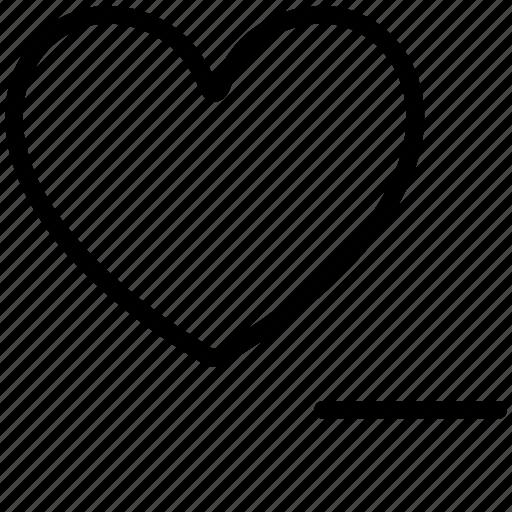 heart, love, minus, romantic, valentine icon