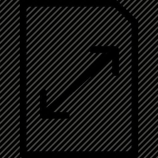 dimension, paper, size, thin icon