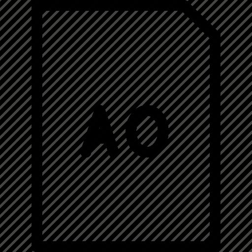 a0, dimension, paper, size icon