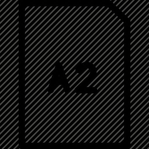 a2, dimension, paper, size icon