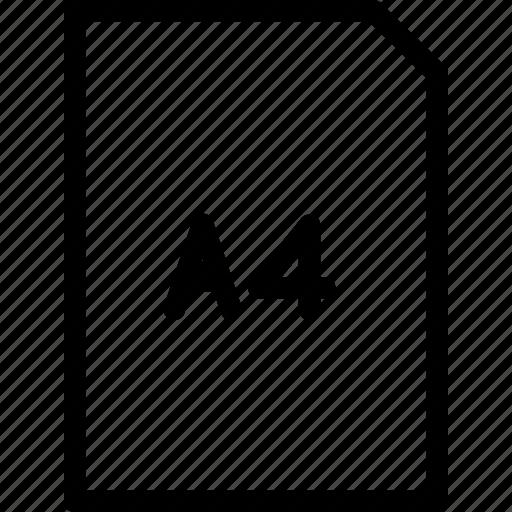 a4, dimension, paper, size icon