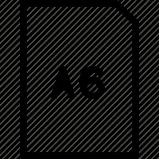 a6, dimension, paper, size icon