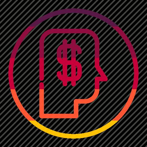 dollar, head, idea, mind, money, thinking icon