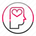 head, idea, love, mind, thinking, valantine icon