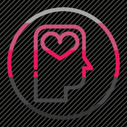 head, idea, love, mind, thinking, valantine icon