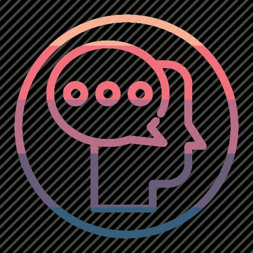 chat, head, idea, mind, thinking icon