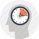 clock, head, human, management, mind, thinking, time icon