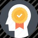 badge, head, human, mind, success, thinking, win icon