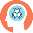 head, human, knowledge, mind, molecule, research, science icon