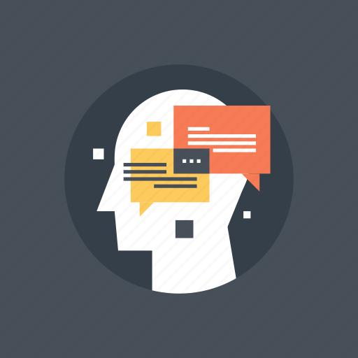 communication, conversation, dialogue, head, human, mind, thinking icon