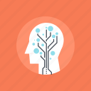 growth, head, human, innovation, mind, technology, tree icon