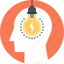 head, human, idea, imagination, light bulb, mind, thinking icon