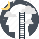 dream, head, human, imagination, mind, stars, thinking