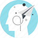 head, human, imagination, mind, paper, plane, thinking icon