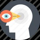 brain, brainstorm, eye, head, idea, view, vision