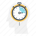 fast, head, human, mind, stopwatch, thinking, timer icon