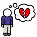 broken, dumped, hearted, man, misery, sadness icon