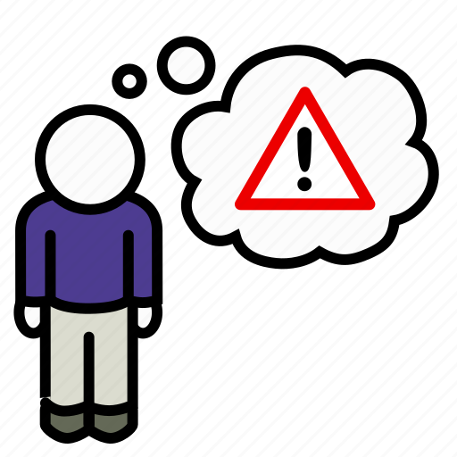 alarm, alert, caution, danger, man, stop, thought icon