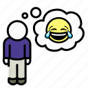 happy, laughing, laughter, lol, man, rofl, thoughts icon