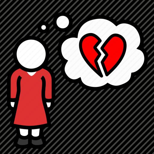 broken, dumped, heart, heartbreak, misery, sadness, woman icon