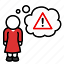 alarm, alert, danger, hazard, stop, thought, woman icon