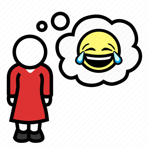 happy, laughing, laughter, lol, rofl, thoughts, woman icon