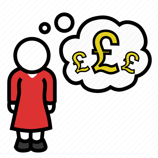 greed, money, pounds, sterling, thought, wealth, woman icon