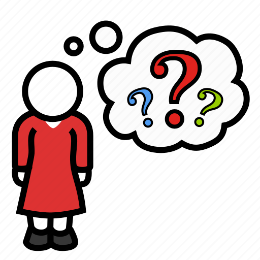 how, question, riddle, thought, what, why, woman icon