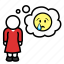 emoji, emotion, sad, tears, thought, unhappy, woman icon