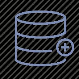 add, data, database, server, storage icon