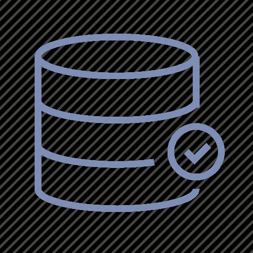 check, data, database, ok, server, storage icon