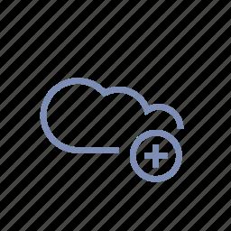 add, cloud, data, server, storage icon