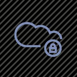 close, cloud, data, locked, server, storage icon