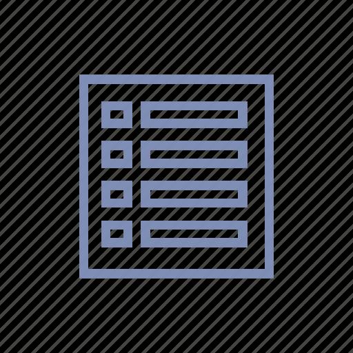 connect, data, database, list, menu, server, storage icon