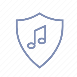 guard, label, music, protection, rightholder, safety, shield icon