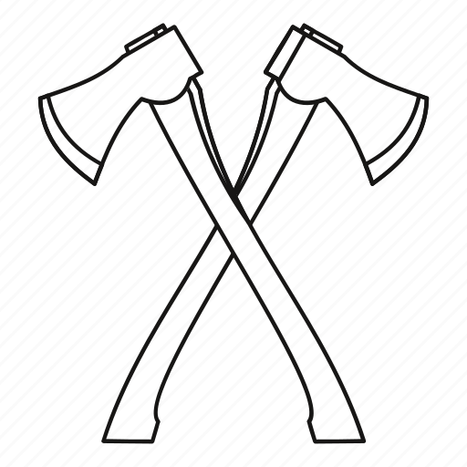 axe, crossed, handle, line, lumberjack, outline, two icon