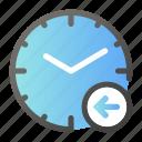 alarm, arrow, clock, left, time, watch icon