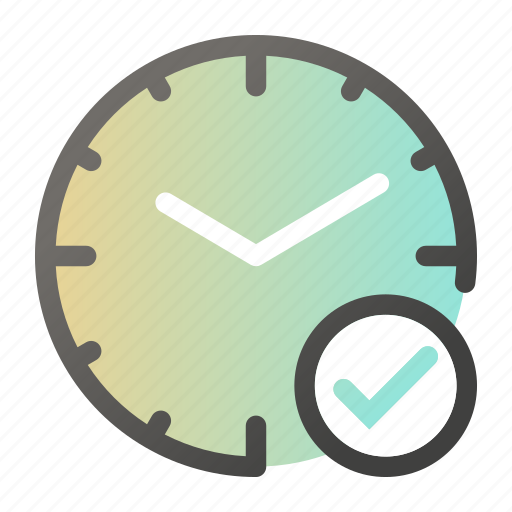 alarm, check, clock, mark, time, watch, yes icon