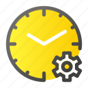 alarm, clock, cog, gear, settings, time, wheel icon