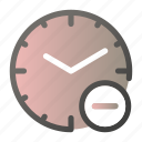 alarm, clock, delete, minus, stopwatch, time, watch icon
