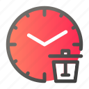alarm, clock, delete, time, trash, watch icon