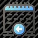 arrow, calendar, date, left, schedule, time icon